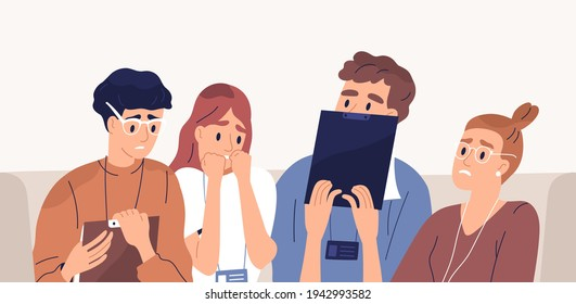 Frightened people afraid of failure. Terrified employees with fear of business fail. Panicked colleagues with facial expressions of anxiety and shock. Flat vector illustration of scared workers