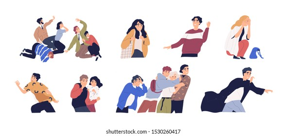 Frightened people flat vector illustrations set. Panic attack, business crisis, anxiety and phobia concept. Trouble emotional reaction, psychology. Terrified young men and women under stress.