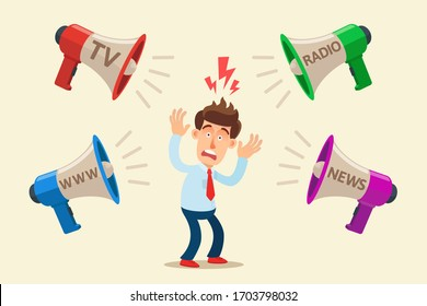 Frightened person from information and propaganda from television, internet, radio and press. Mass media scare, shock and mislead people. Hysteria and disinformation. Vector illustration flat cartoon.