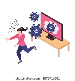 Frightened with viruses woman with panic attack running away from tv set 3d isometric vector illustration
