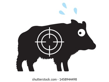 Frightened wild boar with cold sweat and crosshair / vector, isolated