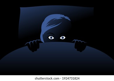 Frightened woman is hiding behind blanket in bed at deep night, panicking, looking fearful and anxious, feeling horror. Concept of nightmares, sleeping problem, insomnia caused by phobias