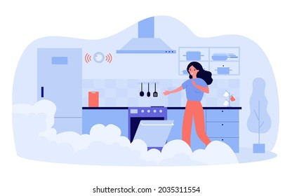 Frightened woman opening oven in smoky kitchen. Flat vector illustration. Girl spoiling dinner, forgetting to turn off oven in time. Cooking, food, fire, safety concept for design or landing page