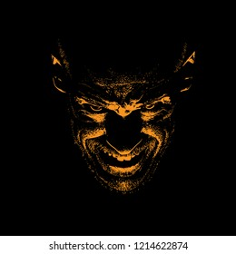 Frightening Man. Portrait silhouette in backlight. Vector. Illustration.