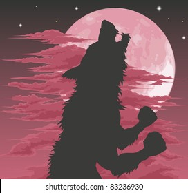 A frightening werewolf silhouette howling at the moon. Halloween illustration.