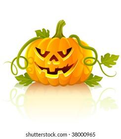 frightful halloween pumpkin vegetable with green leaves - vector illustration