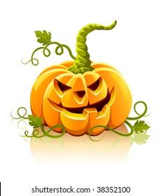 frightful halloween pumpkin vegetable isolated - vector illustration