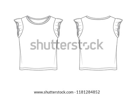 Frill Sleeve Girl T Shirt Template Stock Vector (Royalty Free ...