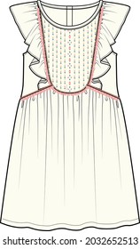 FRILLED WOVEN DRESS FOR GIRLS