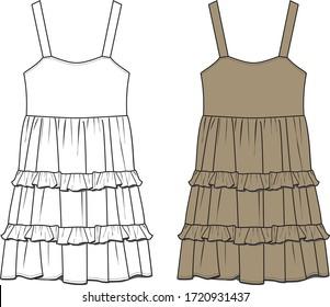 Frilly Dress, Fashion Flat Sketch, Apparel Design Template