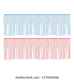 Fringe rows vector garments component. Brush border tassel, trim