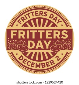 Fritters Day, December 2, rubber stamp, vector Illustration