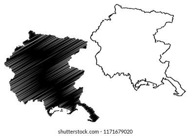 Friuli-Venezia Giulia (Autonomous region of Italy) map vector illustration, scribble sketch Friuli-Venezia Giulia map