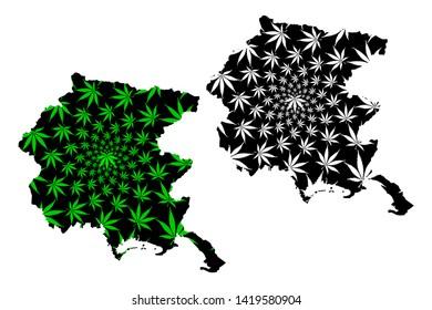 Friuli-Venezia Giulia (Autonomous region of Italy, Italian Republic) map is designed cannabis leaf green and black, Friuli-Venezia Giulia map made of marijuana (marihuana,THC) foliage,