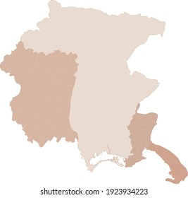Friuli-Venezia Giulia map, division by provinces and municipalities. Closed and perfectly editable polygons, polygon fill and color paths editable at will. Levels. Political geographic map. Italy
