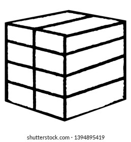 Froebel's divided cube or eight smaller parallelograms, encourage creativity, vintage line drawing or engraving illustration.