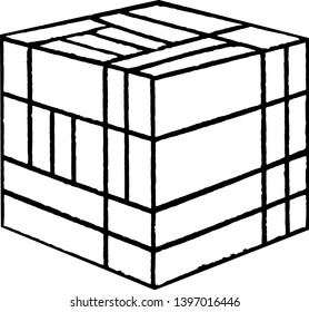 Froebel's Divided Cube or Friedrich Froebel's divided encourage creativity, smaller shapes, more  difficult, vintage line drawing or engraving illustration.