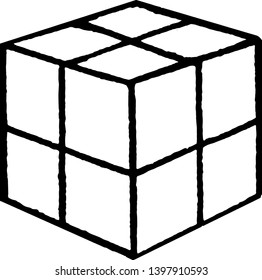 Froebel's Divided Cube used to  knowledge activity, no difficult, Eight Smaller Cubes, vintage line drawing or engraving illustration.