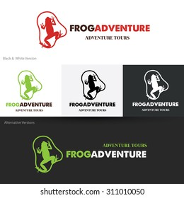 Frog adventures outdoor travel Logo template