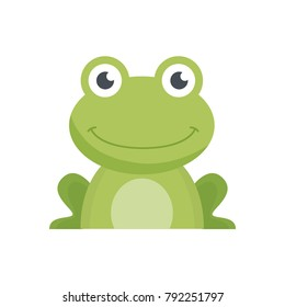 Frog cartoon isolated on white backround. Cute frog cartoon. Vector stock.