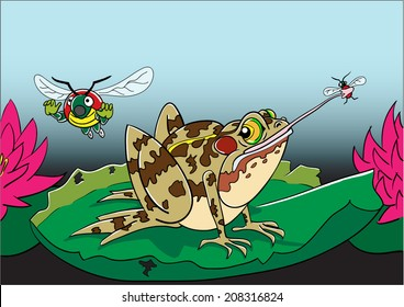 Frog catching a bug while one bug flees in terror.