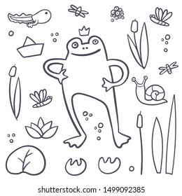 Frog coloring book set with flies, dragonfly, snail. Summer swamp set. Princess in a pond. Frog life circle. Vector cartoon illustration for kids. Outline swamp inhabitant