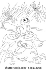Pond Coloring Page Images, Stock Photos & Vectors | Shutterstock