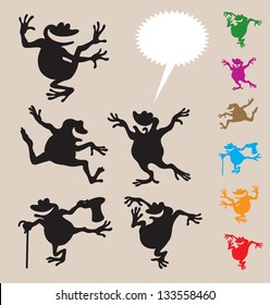 Frog Dancing Silhouettes 2. Smooth and detail vector silhouettes. Easy to change color. Use Adobe Illustrator 8 or higher to edit or change color.