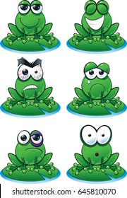 Frog Emoticon Set A cute frog emoticon set with varying expressions