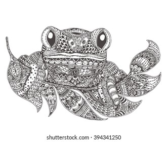 Frog with ethnic floral doodle pattern. Coloring page - zendala, design for spiritual relaxation for adults, vector illustration, isolated on a white background. Zen doodles.