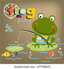 frog fishing time, vector cartoon illustration