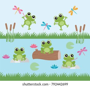 Frog Fun / Happy Frogs and Dragonflies