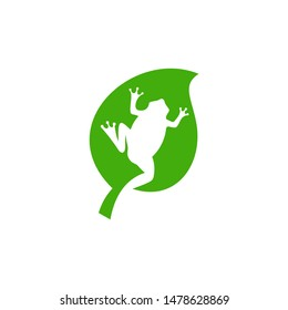 frog and green leaf natural nature logo icon vector design