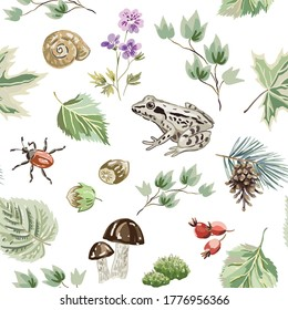Frog, green leaves, nuts, mushrooms, flowers, bug, white background. Forest nature. Seamless pattern. Vector  illustration. Woodland plants. Summer print