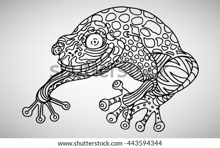 Frog Handdrawn Ethnic Pattern Coloring Page Stock Vector Royalty Unique Zendoodle Patterns