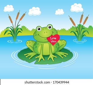 Frog Holding Valentine's Heart on Lily Pad