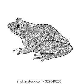 Frog isolated. Black and white ornamental doodle frog illustration with zen tangle decorative ornament