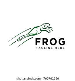 Frog jump art logo