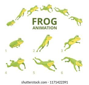 Лягушка прыжки анимации. Различные ключевые кадры для зеленого животного. Векторная анимация лягушки, прыжок амфибии анимированная иллюстрация