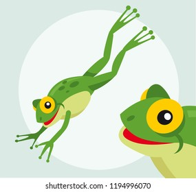 Frog jumping cartoon character