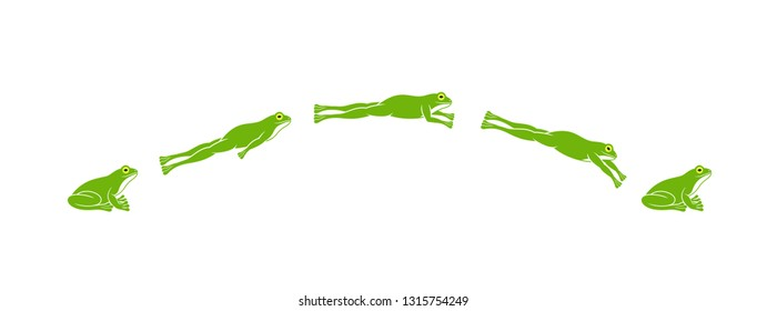 Frog jumping. Isolated frog jumping on white background. EPS 10. Vector illustration