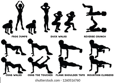 Frog jumps. Duck walks. Reverse crunch. Crab walks. Crab toe touches. Plank shoulder taps. Mountain climbers. Sport exersice. Silhouettes of woman doing exercise. Workout, training Vector illustration