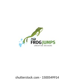 the frog jumps logo. flat green frog illustration