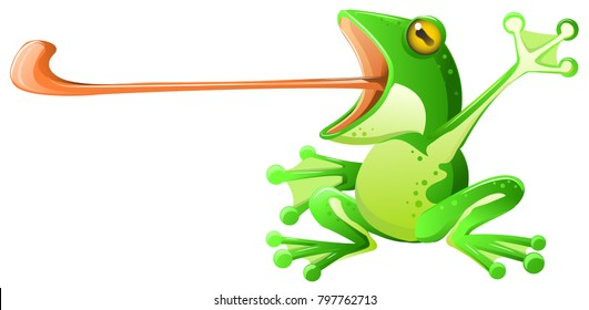 Frog long tongue extended, vector cartoon illustration horizontal, green design element, over white, isolated