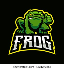 Frog mascot logo design vector with modern illustration concept style for badge, emblem and t shirt printing. Toad gives a thumbs up for e-sport team
