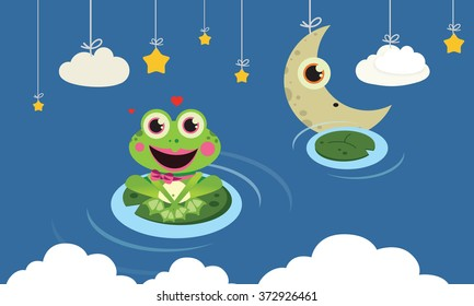 Frog in the night Vector Child illustration