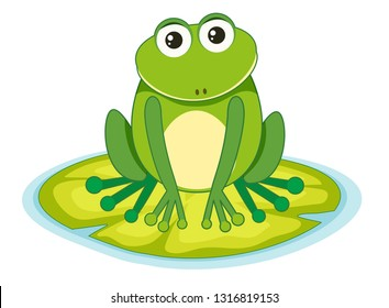 frog on a lilypad illustration