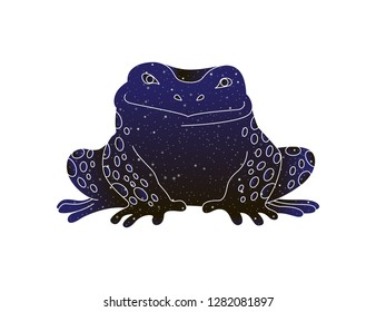 Frog outline image. Stylized vector line animal illustration, night sky color silhouette isolated on white background.