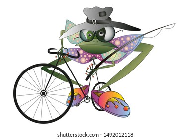 Frog personage with old hat glasses goes fishing on the bycicle. Vector illustration