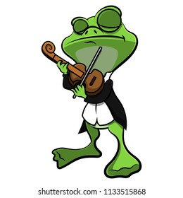 Frog playing Classical Music With Violin Cartoon Vector